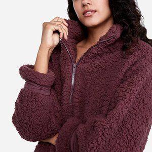 express oversized berry sherpa sweatshirt one elev